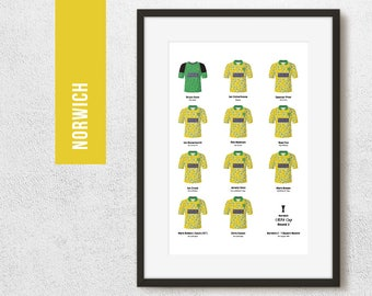 Norwich 1994 Uefa Cup Round 2 Team Print, Football Poster, Football Gift, FREE UK Delivery