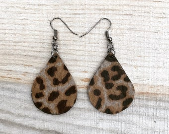 Leopard Teardrop Leather Earrings
