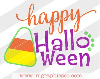 Happy Halloween svg, dxf, cricut, cameo, cut file, candy corn svg, halloween svg, fall svg, autumn svg, trick or treat svg, halloween candy