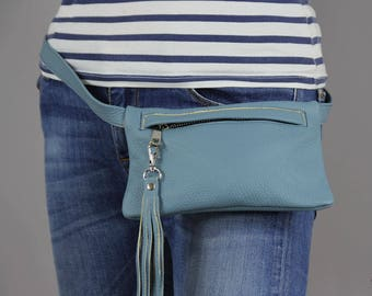 Leather waist bag, Leather Fanny Pack Blue, Fanny Pack Leather, Hip Bag, Leather Pouch, Belt bag, Fanny Pack, Leather Woman Bag-1