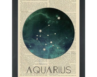 Zodiac Aquarius Dictionary Art Print