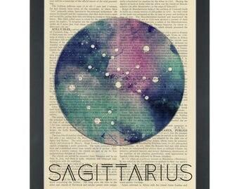 Zodiac SAGITTARIUS Dictionary Art Print