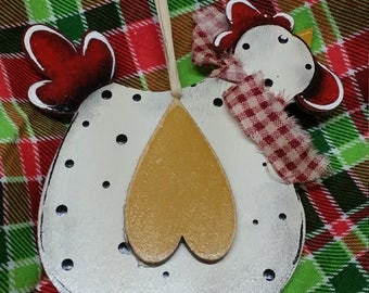 Country chicken ornament