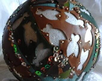 Ball deco cicadas genuine leather