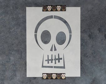 Skull Halloween Stencil - Reusable DIY Craft Stencils of a Blocky Skull