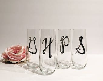 Initial Personalized Stemless Champagne Flutes | Bridal Party Champagne | Maid of Honor Champagne Flutes | Bridesmaid Glasses