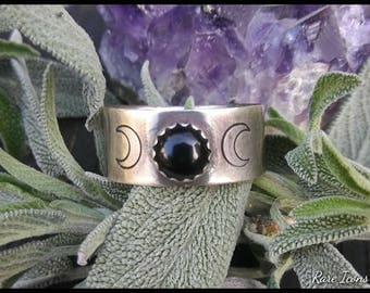 Triple Moon Ring ~ Rainbow Moonstone or Black Onyx and Hand Stamped Sterling Silver