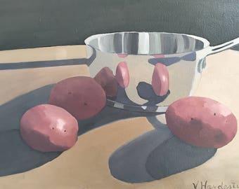 Potatos, 11x14 original still life oil painting on canvas,still life art,kitchen art