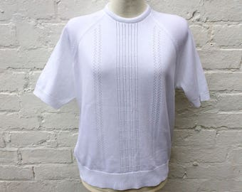 Vintage 50s style top, white retro short sleeved pullover, women's fashion