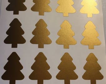 100 Gold Metallic Christmas Tree Envelope Sealers