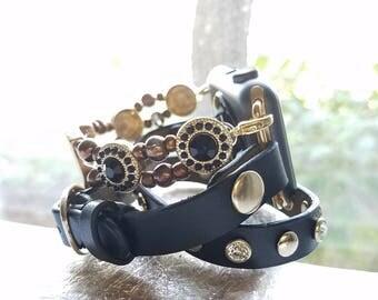Apple Watch Band, Apple Watch Band 38 mm, Apple Watch Band 42mm, Apple Watch Series 3, Black Leather Wrap With Gold studs & Beaded Bracelet