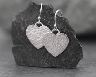 Silver Hammered Heart Earrings - Valentines Earrings - Heart Shape - Love - Simple - Timeless