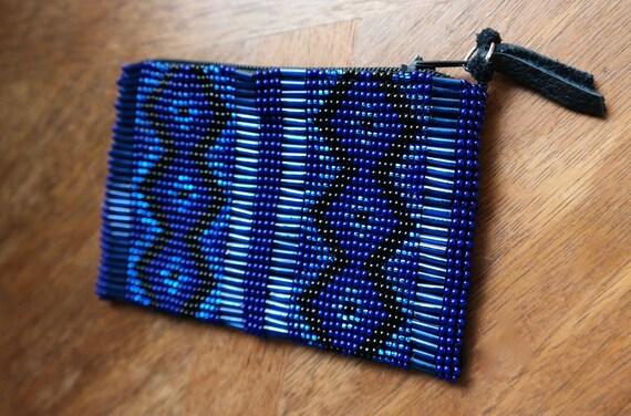 Veronica Prida Geometric Beaded Coin Blue/Black