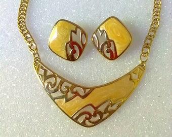 Vintage Gold Cloisonne Necklace Earring Set, Demi Parure Necklace Earring, Accessories, Boutique, Fashion Jewelry