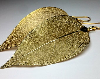 Gold Leaf Earrings Long Dangle Earrings, Real Leaf Earrings, Autumn Wedding Earrings, Gold Earrings Natural Boho Earrings Statement Earrings
