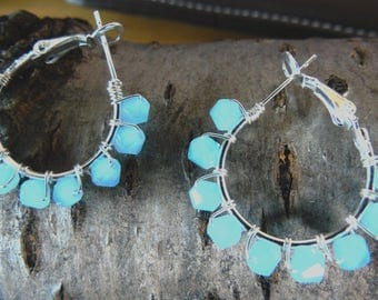 Frosted Blue Beaded Hoops