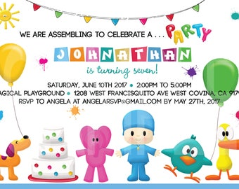 Pocoyo Birthday Invitation PBS Kids Children Birthday Invitation