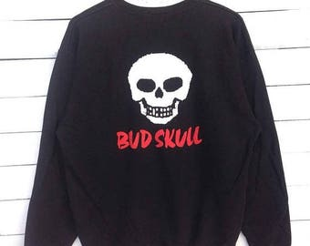 Sale 15% Rare !! 90s Bud Skull Sweatshirt Big Logo Print Crewneck Black Shirt Size L #D1