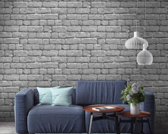 Silver Grey Brick Effect Wallpaper Paste The Wall 10meter Roll
