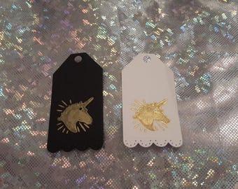 Unicorn gift tags x10 black or white card