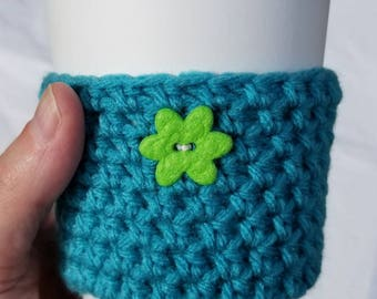 Teal Crochet Cup Cozy - Small Green Felt Flower Button - Springtime Everyday Cup Sleeve in Pond