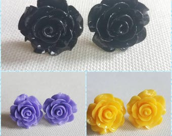 Resin Rose Earrings (18mm) - multiple colors available