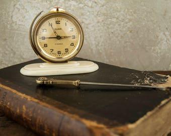 Retro Desk Clock, Soviet Alarm Clock, Vintage Clock, Vintage Alarm Clock , Soviet Russian Clock, Art Deco, Alarm Clock SLAVA 11 jewels