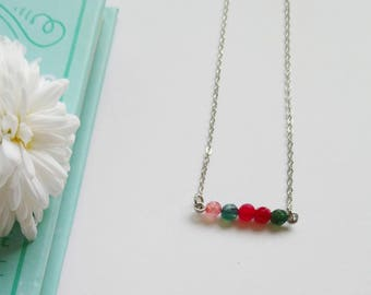 Dainty Mixed Agate Bar Necklace