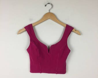 90s Pink Bustier Top, Cropped Bustier, Pink Crop Tank