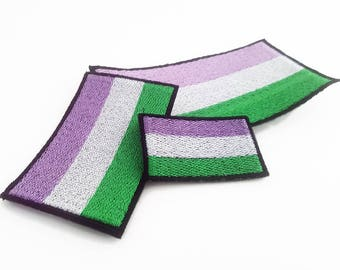 Gender Queer Pride Flag Patch, Gender Queer patch, Gender Queer Flag, Pride Flag, Sew on Patch, Pride Flag Pin