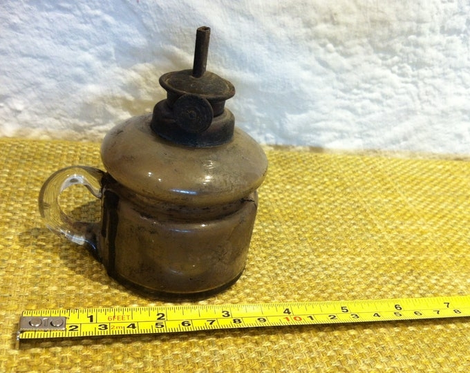Antique Petroleum lamp blown deco object very dirty