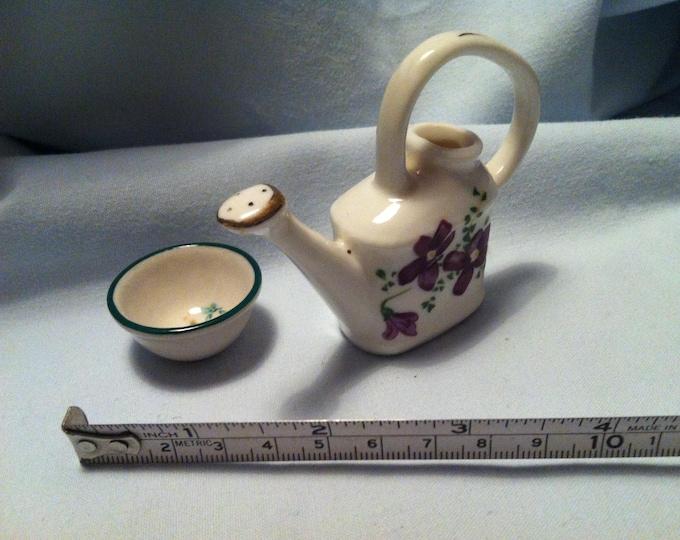 Vintage Porcelain watering can miniatures and porcelain bowl flower decoration