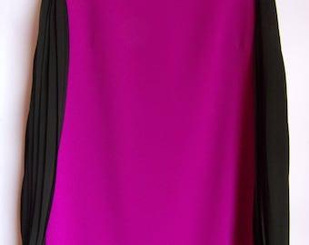Vintage Women's Dress/ Purple Black Party Dress/Mini Dress/Accordion Sleeves/Elegant Dress/Lining/Zipper On The Back/ Size M
