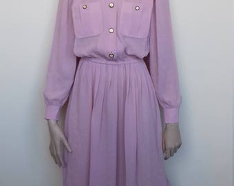 Lovely dusky pink sheer dress by Leslie Fay - Size 10/12