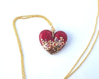Red and Gold Heart Necklace, Heart Pendant, Heart Necklace, Resin Jewelry