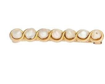 "Estate 14k Yellow Gold Vintage Bar Brooch Pin Genuine Freshwater Pearl Solid 1-3/16"" long 2g Embossed Victorian Marked 14 k kt 14kt Antique"