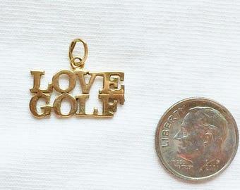 "Estate 14k HEAVY Gold LOVE GOLF Charm Pendant 3/4"" Solid 14kt 14 k kt for Necklace or Bracelet Golfer Club Tee Hole Birdie Par Putt Ball"