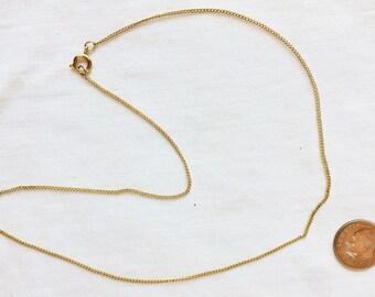 """Estate 10k Yellow Gold Link Chain Necklace 16"""" Long Bigger Clasp 10Kt Genuine Solid 10 k kt 1.5 mm wide 1.5g Vintage Open Links Fine"""