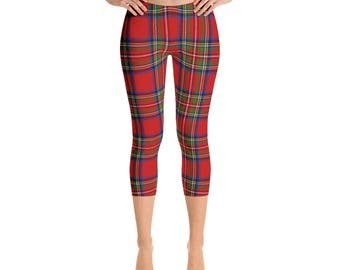 Royal Stewart Tartan Plaid Capri Leggings