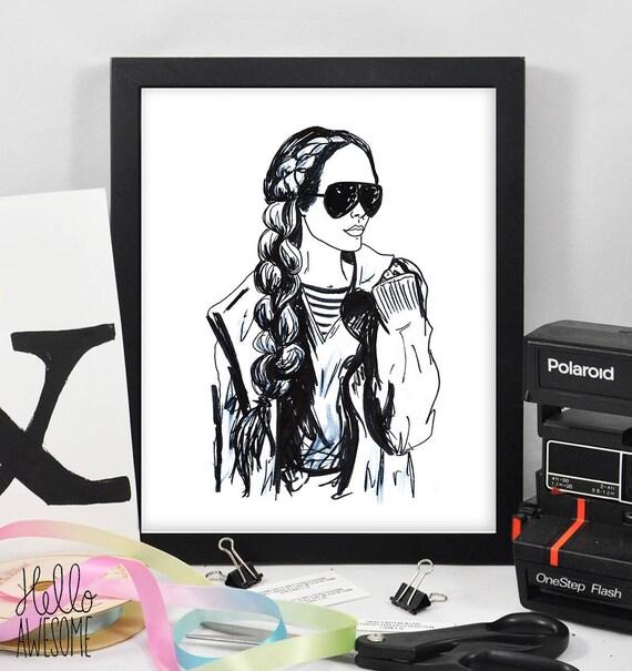 Brittany Modest Fashion Illustration 8x10 Print