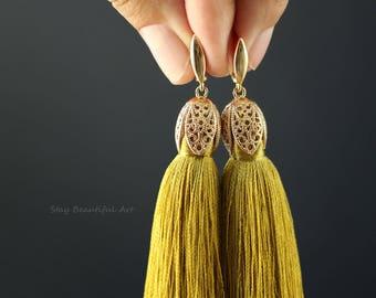 Silk Tassels Earrings with Gold Plated Earwires Long Tassel Jewelry