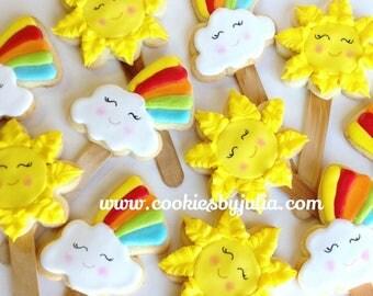 Summer cookies/rainbow cookies/sun/cookies/sugar cookies/custom cookiss/ decorated cookies/vocation/rainbow/