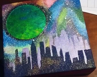 Foil Moon and Skyline Mixed Media & Acrylic on 6x6 Canvas