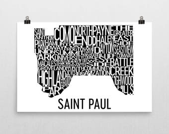 Saint Paul Typography Neighborhood Map Art City Print, St. Paul Wall Art, Saint Paul Poster, Map of Saint Paul, Saint Paul MN, Minnesota