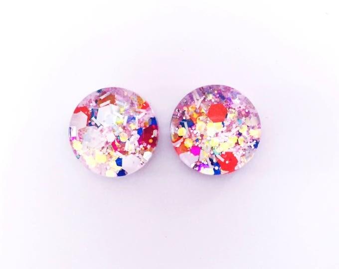 The 'Ice Princess' Glitter Glass Earring Studs