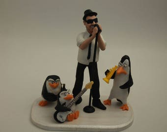 Custom Personalized, Character Musician cake topper Personalised Penguin Unique,  Christmas Gift, custom statues, Christmas statues , gifts
