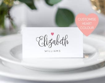 Wedding Place Cards Printable Name Folded Personalised Tags
