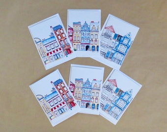 Greeting Card Set, value pack, European Houses, pack of 6, gift cards, blank cards, with envelope, printed on recycled paper,