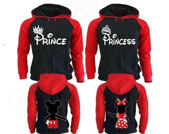 Prince Princess Couple Hoodies, Disney Couple Hoodies, Pärchen Pullover Couple Hoodies Mickey, Couple Hoodies King And Queen