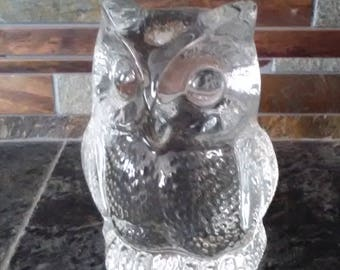 Val Saint Lambert Crystal Owl Sculpture